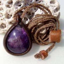 インド産アメジスト(紫水晶)革包みペンダントネックレス
