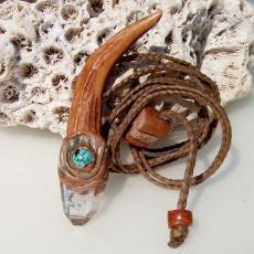 鹿角ヒマラヤ水晶ターコイズのハンドメイドペンダントネックレス