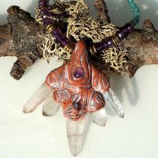 水晶と紫水晶アパタイトのハンドメイドネックレス