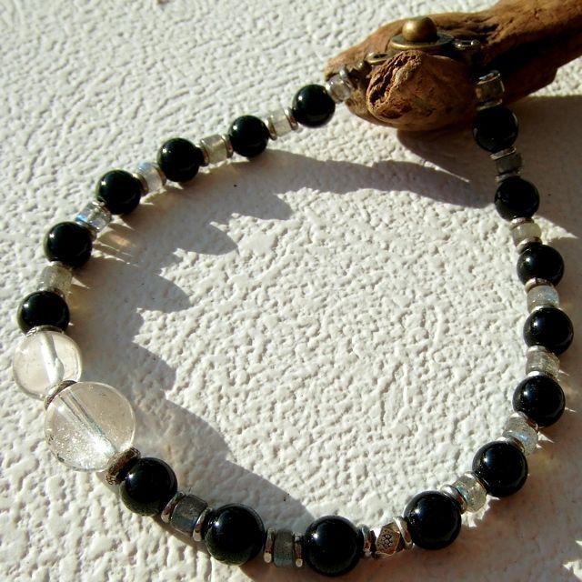 ブラックトルマリンとラブラドライトとヒマラヤ水晶の天然石パワーストーンブレスレット☆ハンドメイドジュエリー