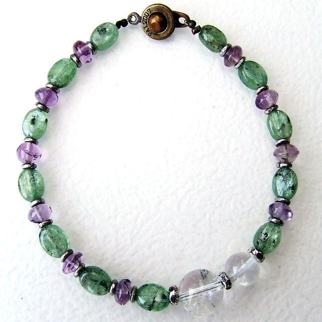 カイヤナイトとヒマラヤ水晶アメジストパワーストーンブレスレット☆天然石アクセサリー